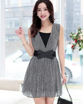 Korean Style Stripe Skirt Temperament Chiffon Dress For Women