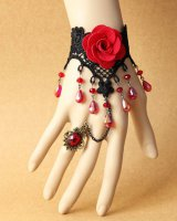 Black lace rose bracelets chain crystal jewelry