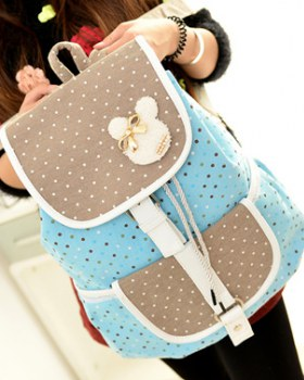 Fashion canvas students pack polka dot Backpack