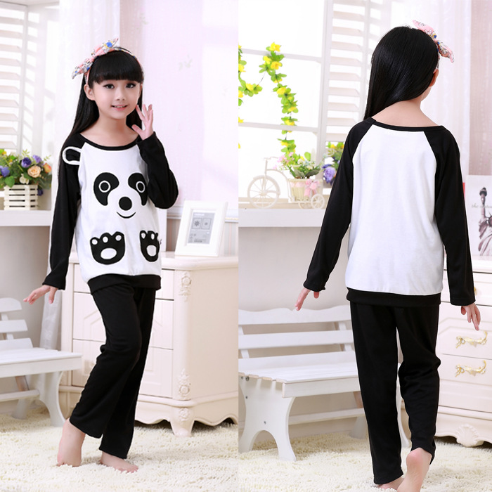Couples child black-white kids homewear panda pajamas ... 83a0552fed39