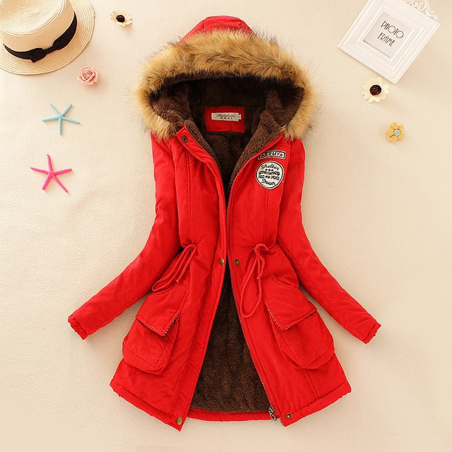 Long hooded thick thermal plus velvet cotton coat for women