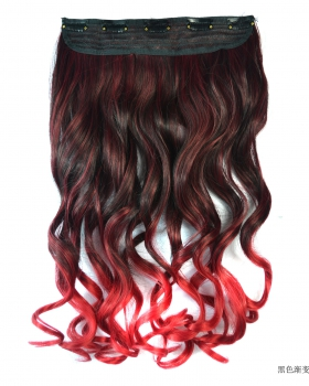 Long a slice colors curly hair 5-clip gradient hairpiece
