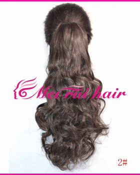 Brown horsetail curly hair long wig