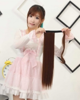 Binding long horsetail wig velcro European style straight hair