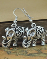 European style carving retro hollow antique silver earrings