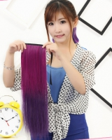 Gradient colorful colors horsetail summer straight hair
