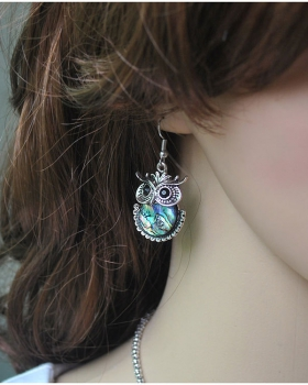 Exaggeration shell retro ear-drop owl European style earrings