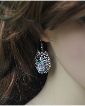 European style owl retro ear-drop exaggeration shell earrings