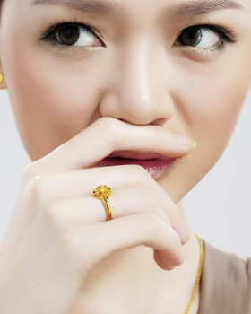 Flowers gilded ring gold opening accessories for women