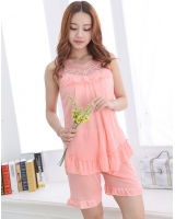 Summer shorts ice silk pajamas a set for women