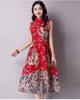 Totem dress Chinese style sleeveless dress for women