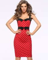 Slim pencil formal dress sleeveless polka dot dress