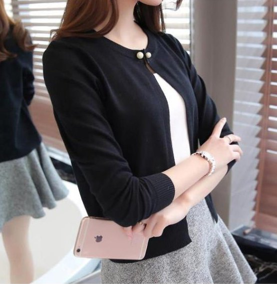 Autumn long sleeve cardigan short thin coat for women