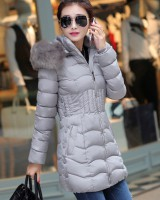 Thick large fur collar cotton coat slim long coat for women