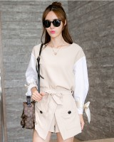 Mixed colors Korean style shirt fat culottes 2pcs set