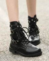 British style low cylinder martin boots black boots
