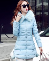 Down long slim coat thick winter hooded cotton coat