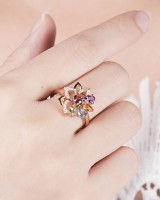 Fashion Korean style ring antique silver mosaic accessories