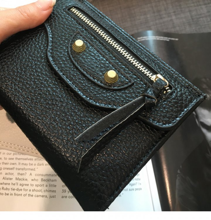 Sweet small thin genuine leather lovely short wallet for women