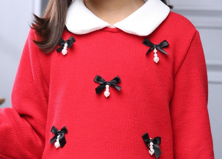 Autumn and winter small bow girl dress