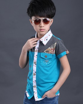 Pure short sleeve fashion kids child pure cotton shirt