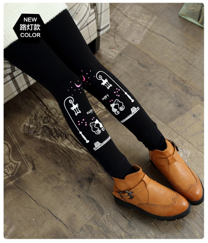 Korean style autumn and winter child cartoon slim leggings