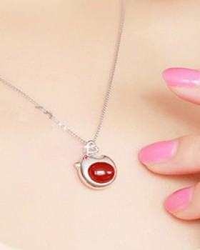 Silver pendant clavicle necklace agate necklace for women