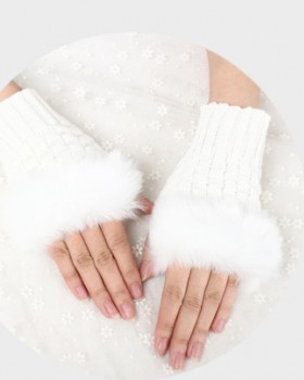 Woolen yarn short imitation of rabbit fur Gloves for women