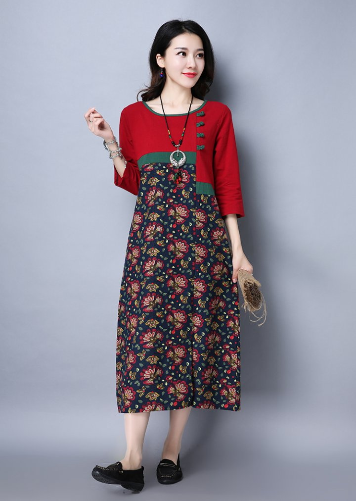Retro loose national style spring dress for women