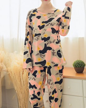 Camouflage homewear milk silk pajamas a set for women