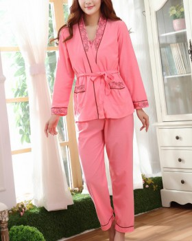 Sexy homewear long pants winter sling nightgown 3pcs set