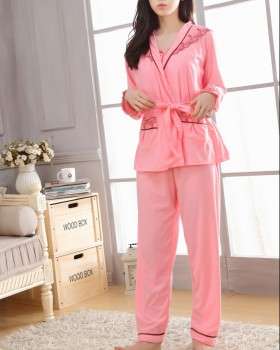 Winter long pants cotton pajamas 3pcs set for women
