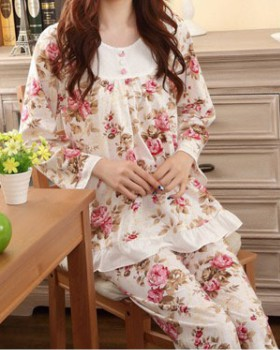 Spring and autumn cotton pajamas for women