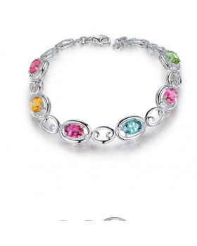 Inlay colors creative silver gem bracelets