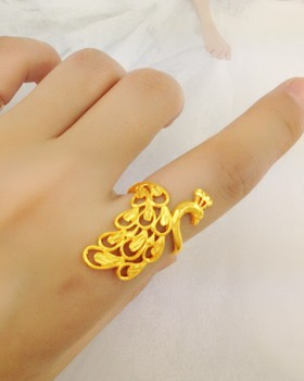 Opening peacock accessories gold ring for women