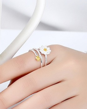 Opening silver Asian style colors ring for women