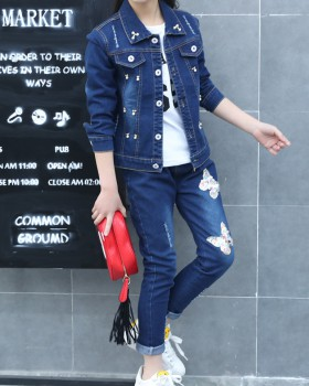Sports girl Korean style Casual denim spring kids a set