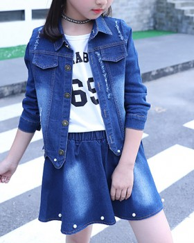 Korean style skirt denim kids 2pcs set