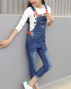 Denim girl long pants Casual big child sling pant