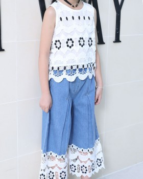Korean style Casual child summer wide leg pants 2pcs set