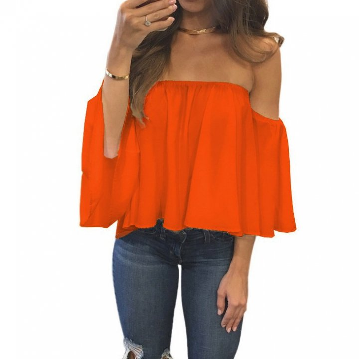 Horizontal collar tops strapless chiffon shirt for women