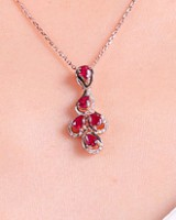 Pendant silver drops of water rose gold necklace for women