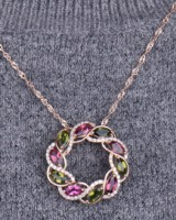 Silver gem flower colorful colors necklace for women