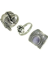 Retro fashion gem jewelry European style natural ring a set