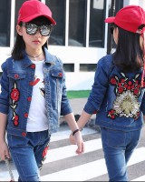 Child spring and autumn Korean style tops girl denim coat