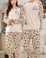 Simple letters couples spring round neck pajamas 2pcs set