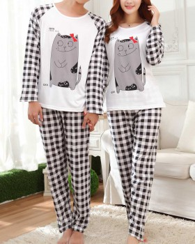 Couples cartoon homewear milk silk fashion pajamas