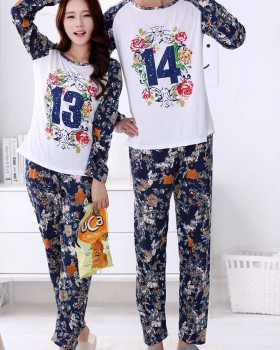 At home long sleeve round neck spring and autumn pajamas 2pcs set