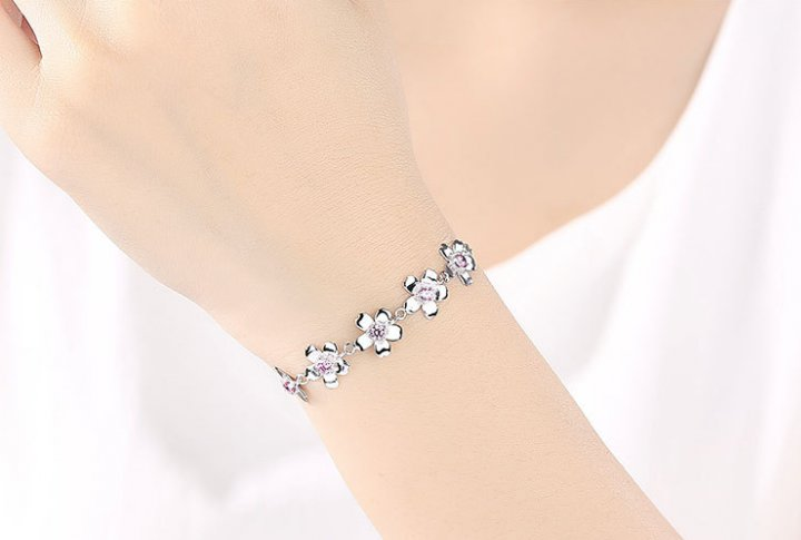 Asian style silver mosaic fashionable cherry bracelets