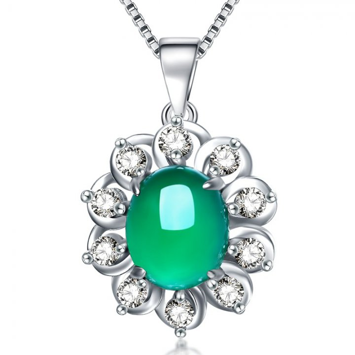 Pendant antique silver necklace natural Korean style jade